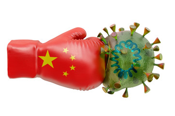 Boxing glove with Chinese flag and coronavirus, 3D rendering