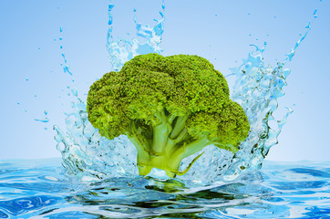 Broccoli cabbage with water splashes, 3D rendering