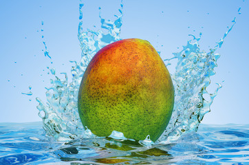 Mango with water splashes, 3D rendering