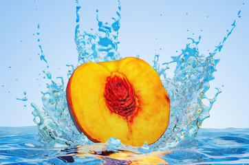 Nectarine or peach cut in half with water splashes, 3D rendering
