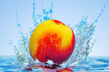 Nectarine or peach with water splashes, 3D rendering