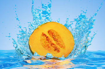 Squash cut in half with water splashes, 3D rendering