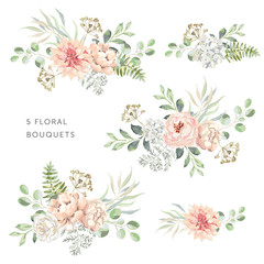 Blush dahlia, roses, peonies with green leaves bouquets, white background. Set of the bridal floral arrangements. Vector illustration. Romantic garden flowers. Wedding design clip art