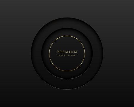Vector black abstract round paper cut luxury frame. Premium label dark design background. Golden line frame. Papercut layered border