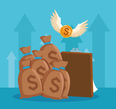 money sacks and clipboard and money coin with wings flying