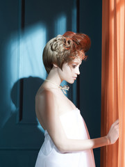 Printed roller blinds womenART Lady with red hair