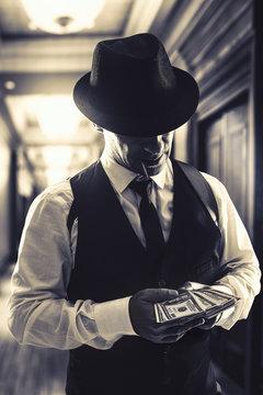 retro italian mafia gangster in 1920's