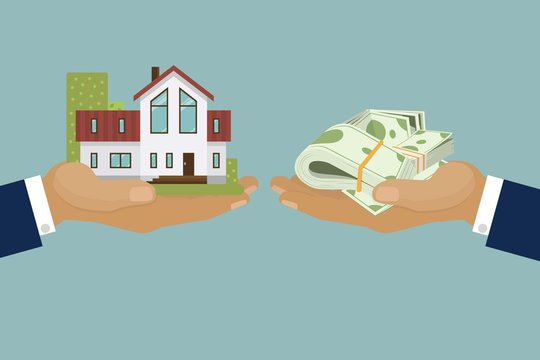Country elite houses or cottage for rent or sale building real estate concept vector illustration. Country house in hand sold for pack of dollars cash banqnotes. Banner selling elite real estate.