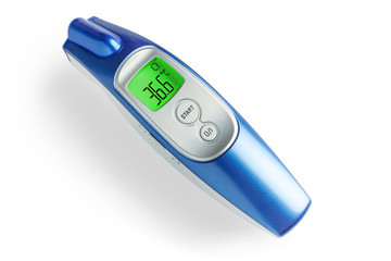 infrared thermometer for monitoring temperature with a indication of 36.6 on the display, close-up. healthcare and epidemic control concept