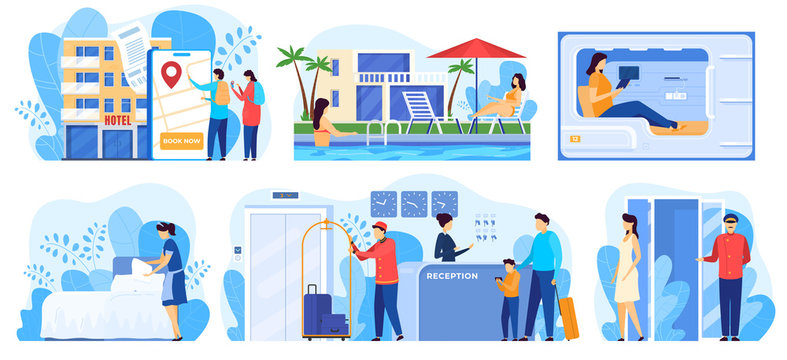 Hotel service, people cartoon characters staying in hostel, vector illustration. Luxury accommodation for travelers, professional hotel staff. People booking room online and checking in at reception