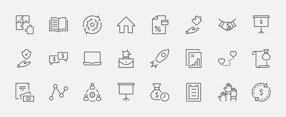 Set of Business Cooperation Vector Line Icons. Contains such Icons as Puzzle, Partnership, Money, Handshake, Dollars, Team, Synergy, Work, Interaction and more. Editable Stroke. 32x32 Pixels