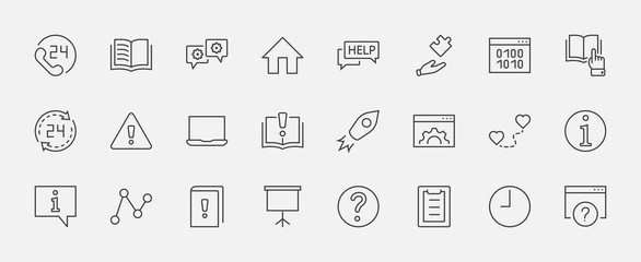 Set of Help And Support Vector Line Icons. Contains such Icons as Handbook, Book, Online Help, Tech Support and more. Editable Stroke. 32x32 Pixels