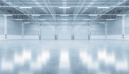 Fototapeta Roller door or roller shutter inside factory, warehouse or industrial building. Modern interior design with polished concrete floor and empty space for product display, industry background. 3d render. obraz