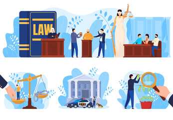 Law and justice concept, people in court vector illustration. Judge, attorney and jury in courthouse, money laundering investigation. Crime suspect, police officer cartoon character, scales of justice