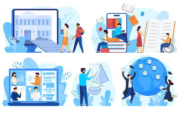 Distance education and online learning concept, vector illustration. Cartoon characters studying online, distance education program for international students and disabled people. Internet course