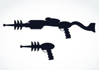 silhouette alien laser gun vector illustration