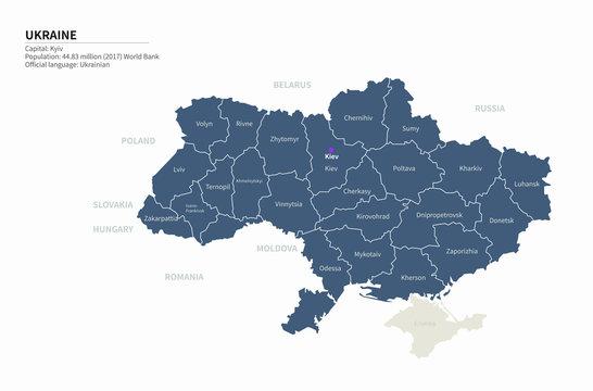 graphic vector map of ukraine. ukraine map. europe country map.