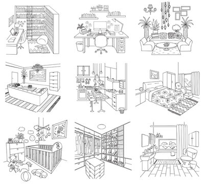 Set of rooms in the house including, working room, living room, bathroom, dressing room, baby room,kitchen and library for printing or web element. Vector illustration