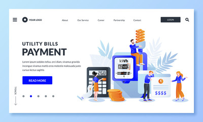 Save energy and pay utility bills concept. Vector illustration. Man and woman worried and stressed over bills. Wall mural