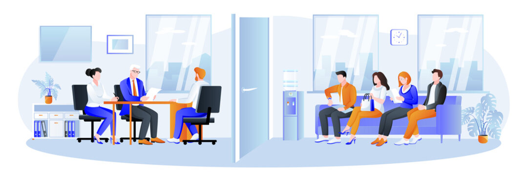 Office interview with job candidates. Recruitment, hiring and conclusion of labor contract concept. Vector illustration