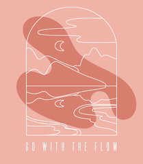 Go with the flow. Vector  hand drawn  minimalistic  landscape. Creative line artwork with abstract shapes. Template for postcard, poster, banner, print for t-shirt, label,  patch.
