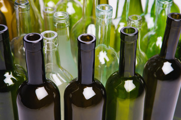 empty wine bottles, close-up view
