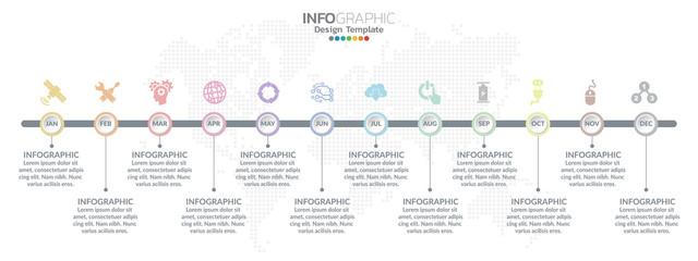 Fototapeta Timeline template with milestones in pastel colors.