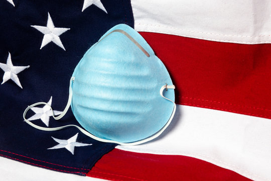 Close up of a respiratory mask with the USA flag