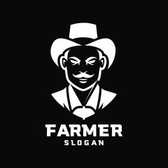 black background Columbia south america farmer character logo icon design cartoon