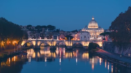 Fotomurales - time lapse of St. Peter's Basilica, Sant Angelo Bridge, Vatican, Rome, Italy