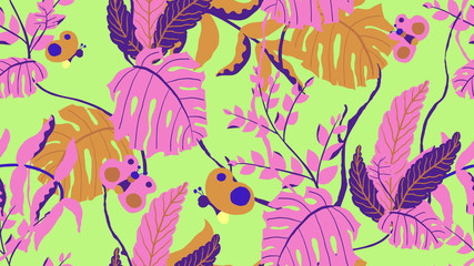 Botanical seamless pattern, various hand drawn flowers and leaves on green