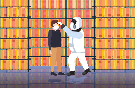 specialist in hazmat suit checking temperature of man in library spreading coronavirus infection epidemic MERS-CoV virus wuhan 2019-nCoV pandemic health risk concept full length horizontal vector