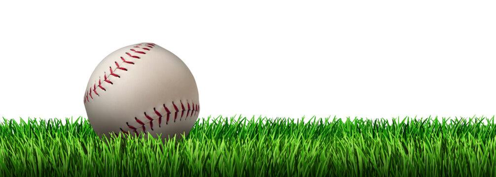 Baseball On Grass Isolated