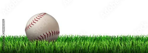 Wall mural Baseball On Grass Isolated