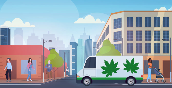 hemp truck cannabis van on city street drug consumption medical marijuana express delivery concept modern cityscape background horizontal vector illustration