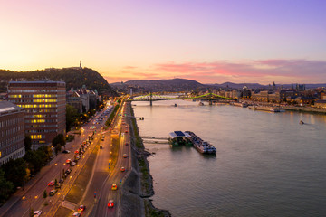 Traffic by the Danube at dusk
