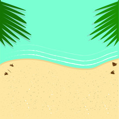 Türaufkleber Reef grun Beach sands, palm leaves and sea landscape vector design for travel concept