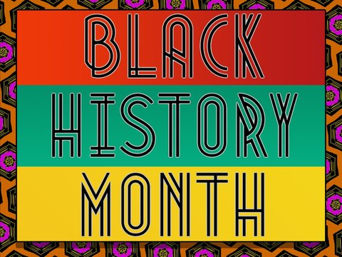 Black History Month text on multicolored background