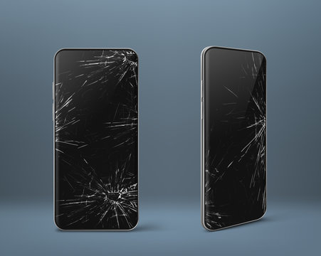 Mobile phone with broken screen set front and side view, smashed smartphone, shattered electronics device with black touchscreen covered with scratches and cracks, Realistic 3d vector illustration