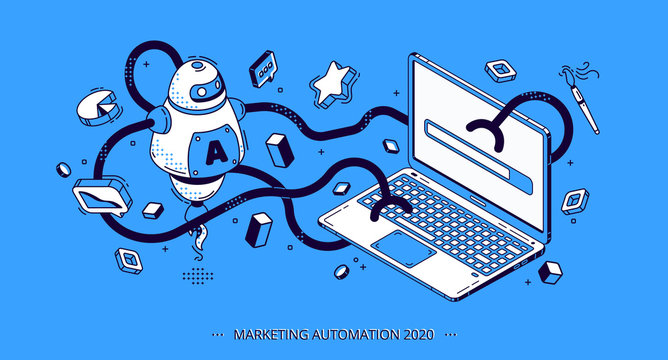 Marketing automation 2020 isometric banner. Technology for SEO, internet, digital business content. Octopus robot with many hands working workflow process on laptop, 3d vector illustration, line art