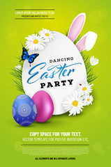 Easter background with easter eggs, flowers and rabbit ears