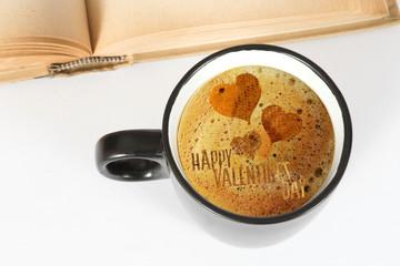 Eine Tasse Kaffee und Valentinstag