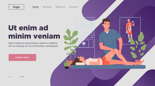 Massage therapist office. Client getting leg and knee massage leg and knee flat vector illustration. Wellness, spa salon, wellbeing concept for banner, website design or landing web page