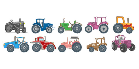 tractor vector set collection graphic clipart design