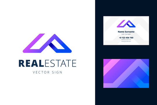 Real estate logo and business card template. Vector emblem in a modern gradient style for businesses selling homes and apartments.