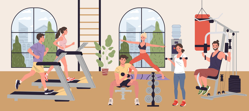 People doing cardio exercises, weight lifting and yoga in gym vector illustration. Men and women performing fitness exercises in exercise class. Wellness, sport activities, healthy lifestyle