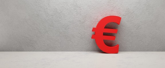 red euro sign on the wall - cgi render image, illustration
