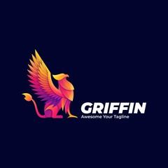Vector Logo Illustration Griffin Mythology Pose Gradient Colorful