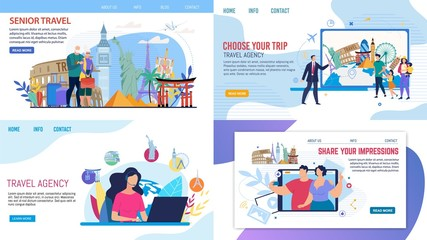 Travel Agency Service Webpage Set Offering Tours. Senior Couple, Young Family with Kids and Millennial Married Man and Woman Travelling over World, Choosing Rout, Sharing Impressions via Internet Wall mural