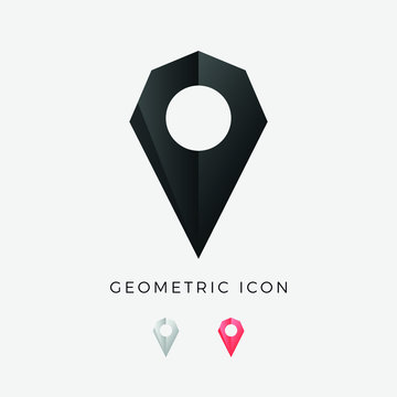 Map Pin Geometric Symbol - geolocation, location, gps, marker, pointer, route, road, navigation, position, pictogram - Origami Crystal Icon Vector Illustration